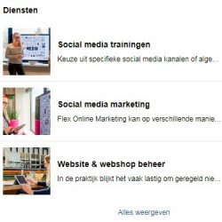 Diensten op Facebookpagina Flex Online Marketing