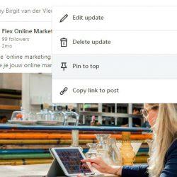 Bericht vastpinnen op LinkedIn bedrijfspagina Flex Online Marketing