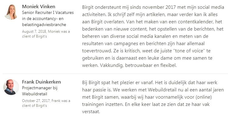 Aanbevelingen LinkedIn Birgit van der Vleuten Flex Online Marketing