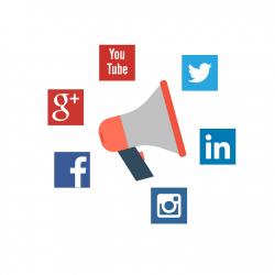 Social media icoontjes met megafoon Flex Online Marketing